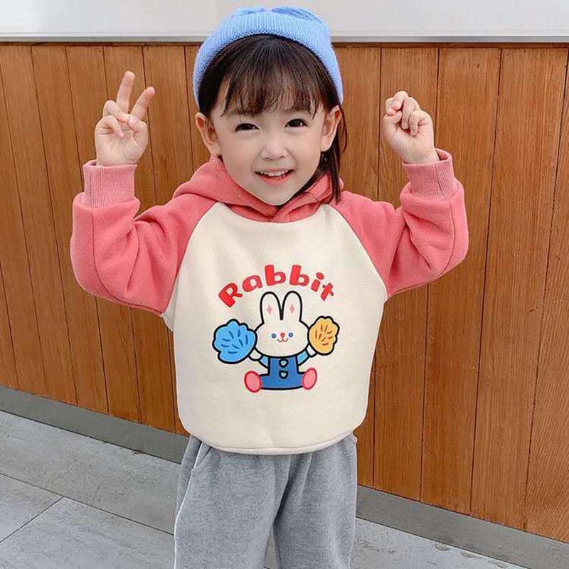 Kızların Kazak Sonbahar Kış Peluş Bebek Kapşonlu Karikatür Çocuk Üst Kız Giysileri Sonbahar Moda Çocuk Kazak F1216