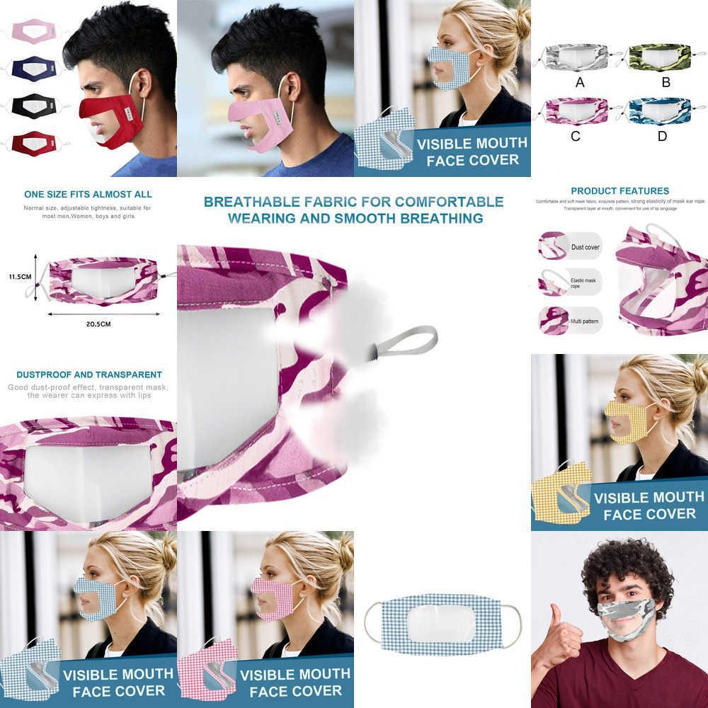 FactoryAxalClear Fashion Face-Mask Protección germinal con para adultos Ventana Visible Algodón Boca Mascarilla Mascarilla Mascarilla y reutilizable