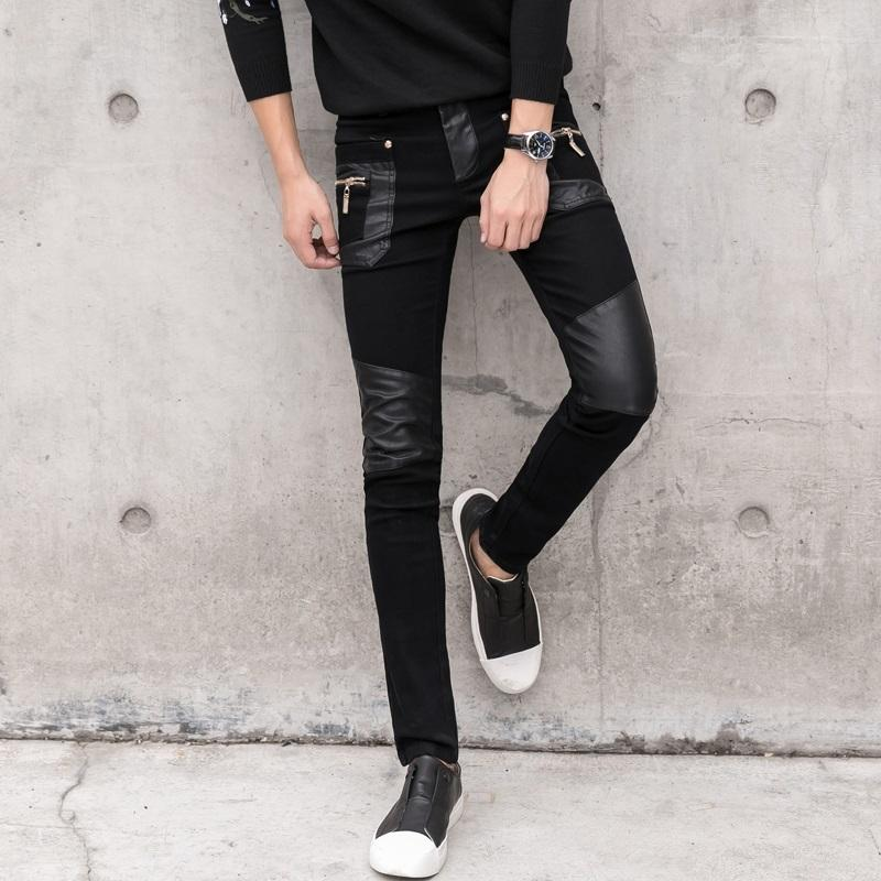 Hohe qualität mode männer faux leder jeans gespleißte denim hosen männliche slim fit punk bühnersänger motorrad casual hosen