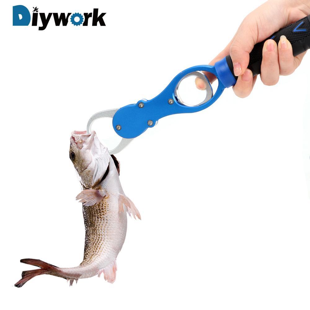 DIYWORK Pêche à la lèvre Alliage d'aluminium avec 0- 16kg Outils à la main à l'échelle Poisson Gripper crochet Pince de pêche Outil de pêche Y200321