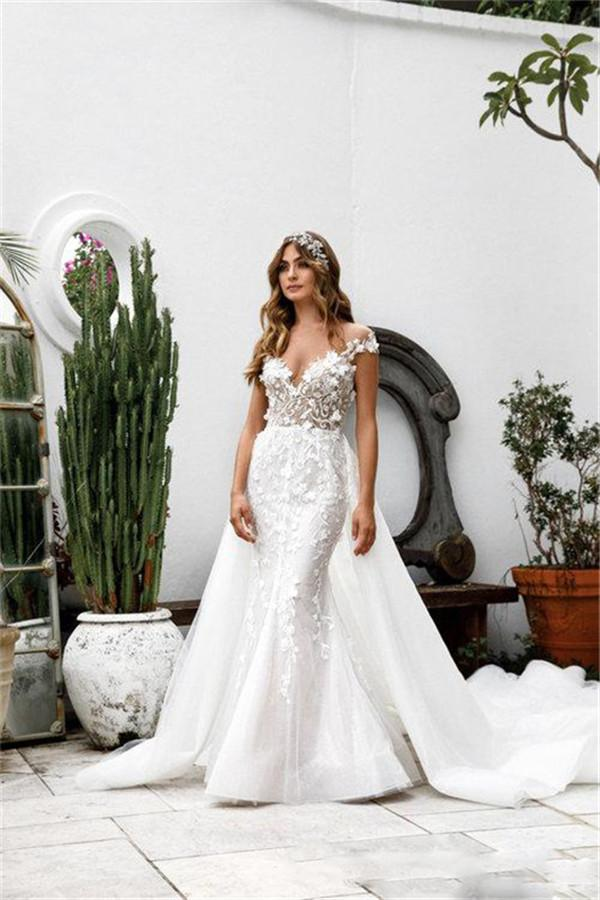 Gorgeous Mermaid Wedding Dresses With Detachable Train Lace Appliqued Luxury Bridal Gowns Custom Made Country Bridal Dress Plus Size