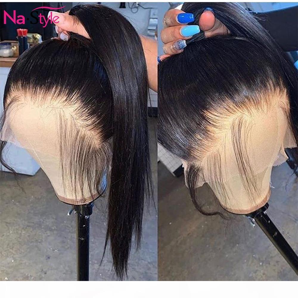 HD прозрачные кружевные парики Precpeded 360 кружевной фронтальный парик невидимые кружевные фронтальные парики прямые 13x6