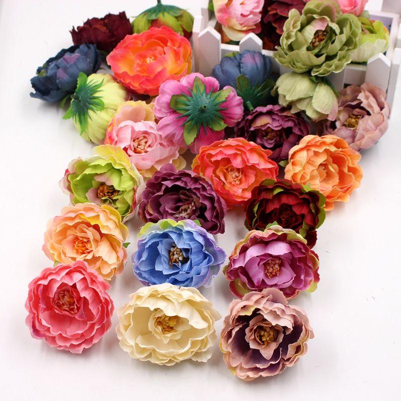 50pcs / 가방 고품질 실크 인공 가짜 꽃 장식 모란 꽃 머리 시뮬레이션 DIY 웨딩 가족 파티 장식 DHE3370