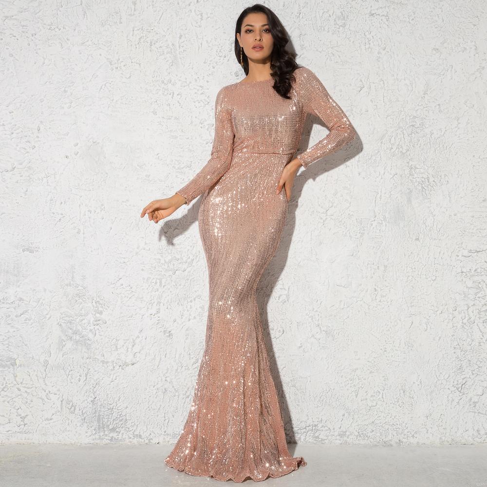 Элегантный O шеи с длинным рукавом блесток Maxi Длина положения растягивающее вечернее платье для вечеринок Золото зеленый бордовый черный Q1229