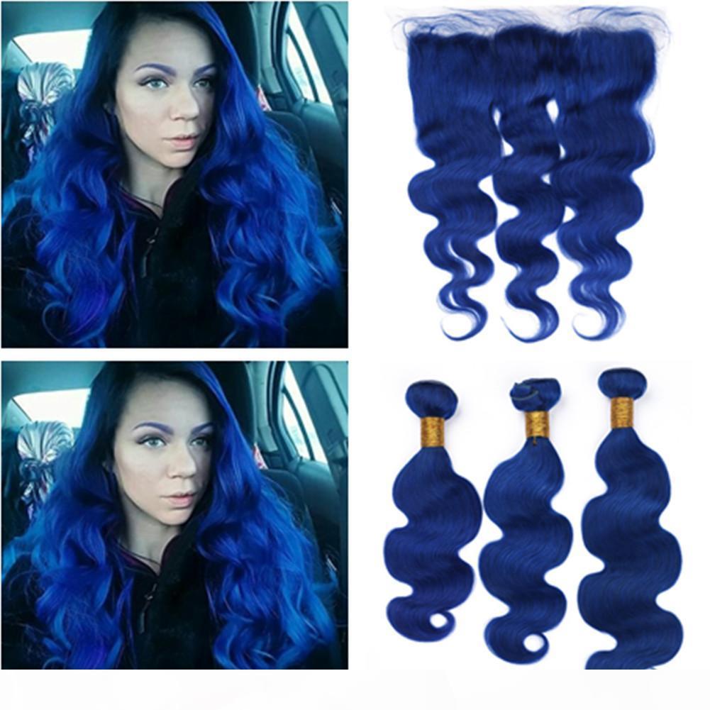 Brazilian Dunkelblau Menschliches Haar 3Bundles mit Frontal Verschluss-Körper-Wellen Pur Blue Virgin Haar Weaves mit 13x4 Ohr zu Ohr Lace Frontal