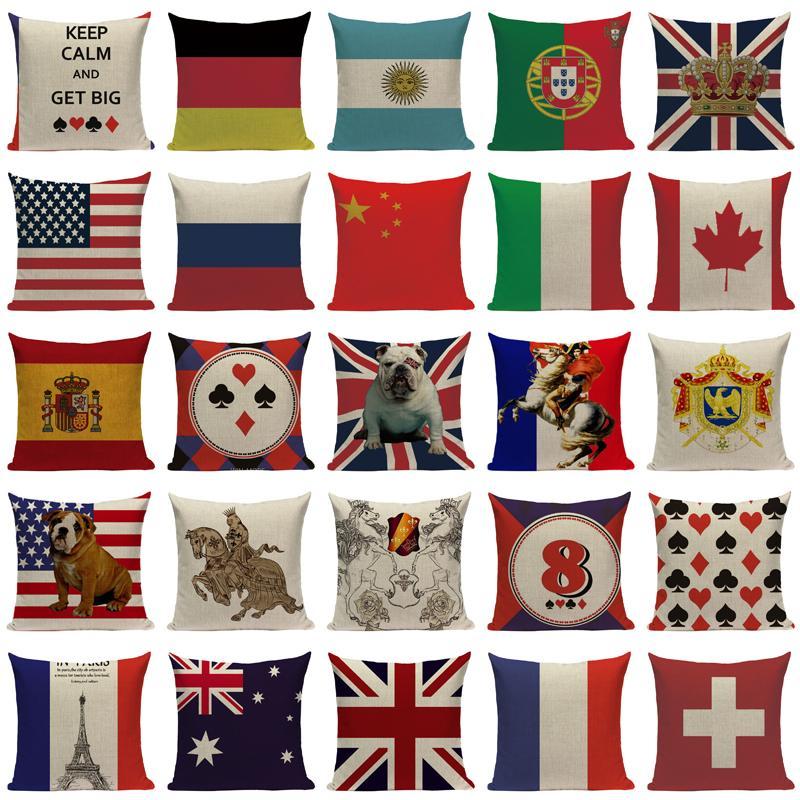 Hohe Qualität Nationalflagge Kissen Wurfkissen Baumwolle Leinen Auto Sofa Bett Home Decor Handgemachte benutzerdefinierte gedruckte Kissenbezug