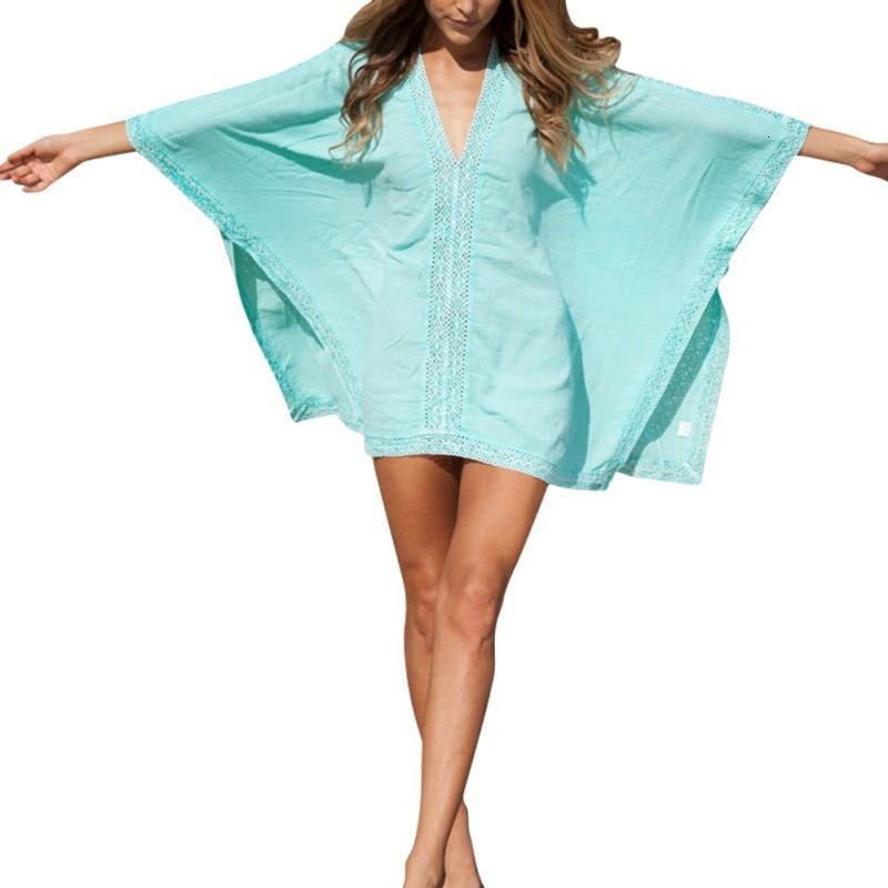 Outdoor Neue Frauen Mädchen Beachwear Bikini Strand Tragen Sie Kaftan Sommer Shirt Kleid Bademode