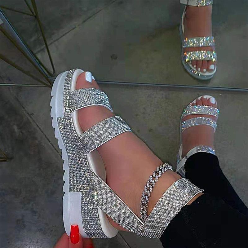 Sandalias para mujer Zapatos Cuña Plataforma Cristal Hebilla Hebilla Jalea Sandalias Damas Verano Moda al aire libre Femenino Playa Calzado 2021