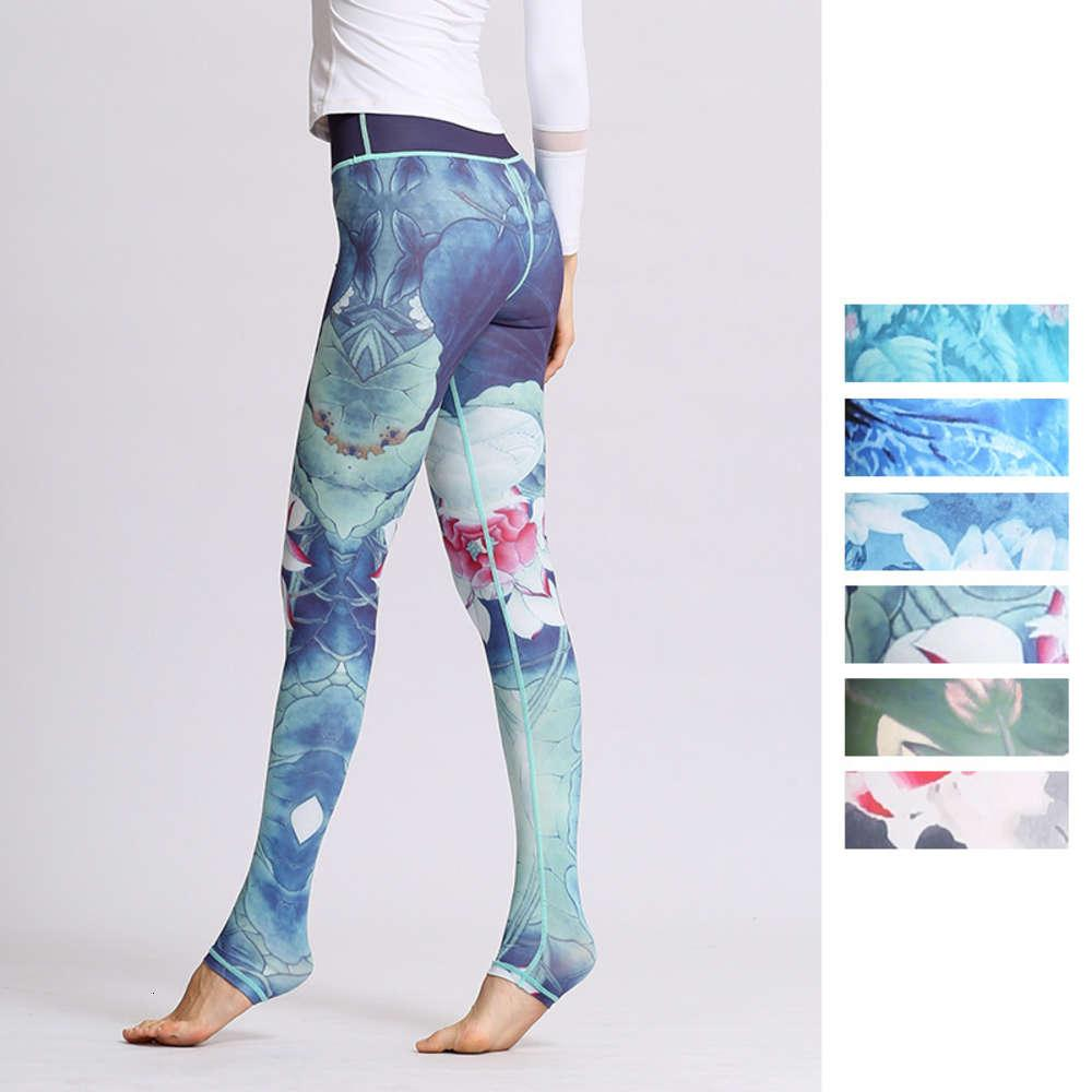 Autumn and winter new clothes printed yoga women's tight high waist hip stepping sports fitness Pants