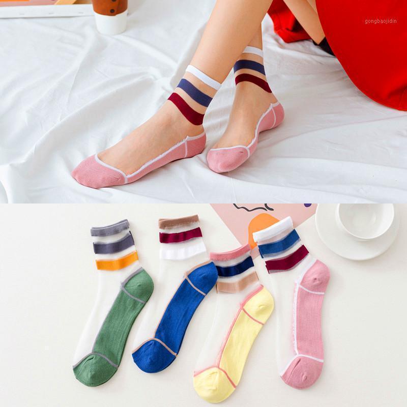 4 pares mulheres meias verão novo fêmea algodão doce cor patchwork meias listrado meninas bonitos transparentes short1