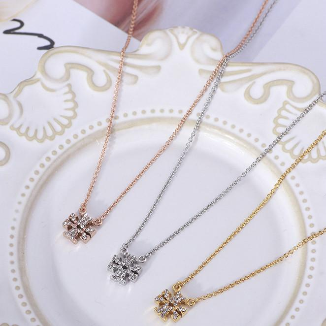 Ücretsiz Kargo Gerçek Altın / Gümüş / Gül Altın Kaplama Tam Kristal Kolye Kolye Uzun Chian Marka Hediye