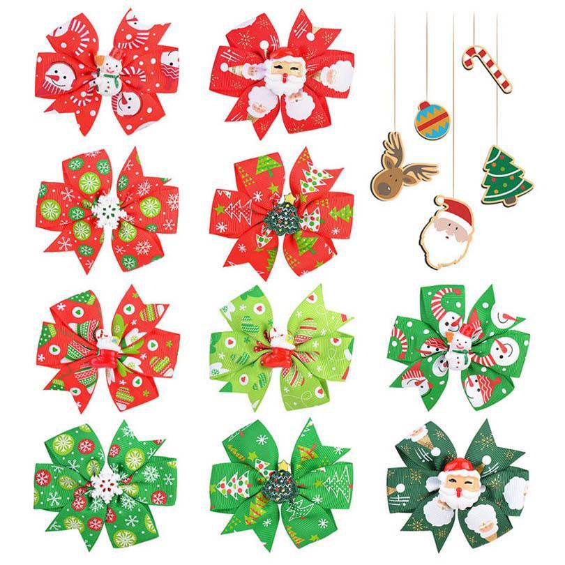 Ins New Christmas Girls Girls Cabelo Clipes Cartoon 3.1inch Cabelo Arcos Meninas Designer Cabelo Clipes Crianças Barrettes Acessórios Para Bebê Atacado B3105