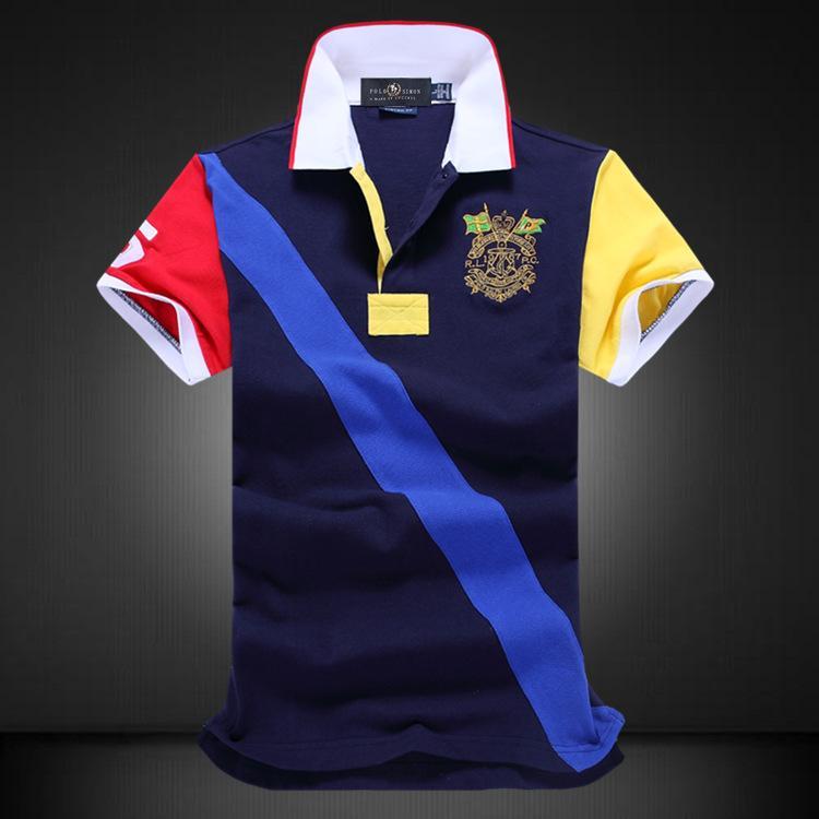 Рубашка отворота Стиль с короткими рукавами Тенденция хлопка поло Мужской футболки цвета соответствует новой взрывоопасной одежде Летнее VUSFL