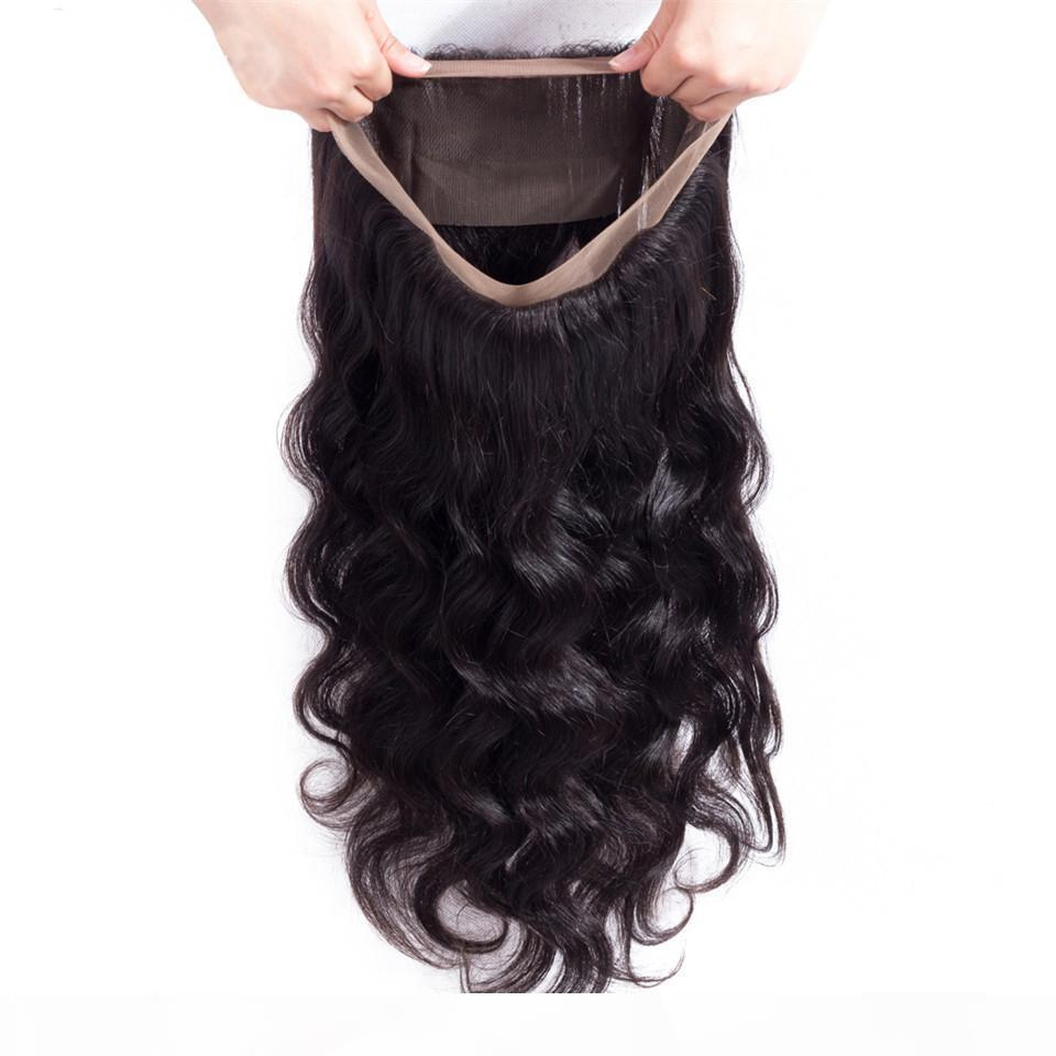 9A Brazilian Hair Body Wave Fechamento 360 Lace Frontal Parte Livre 100% Remy Fecho de Cabelo Humano com Cabelo De Bebê Cor Natural