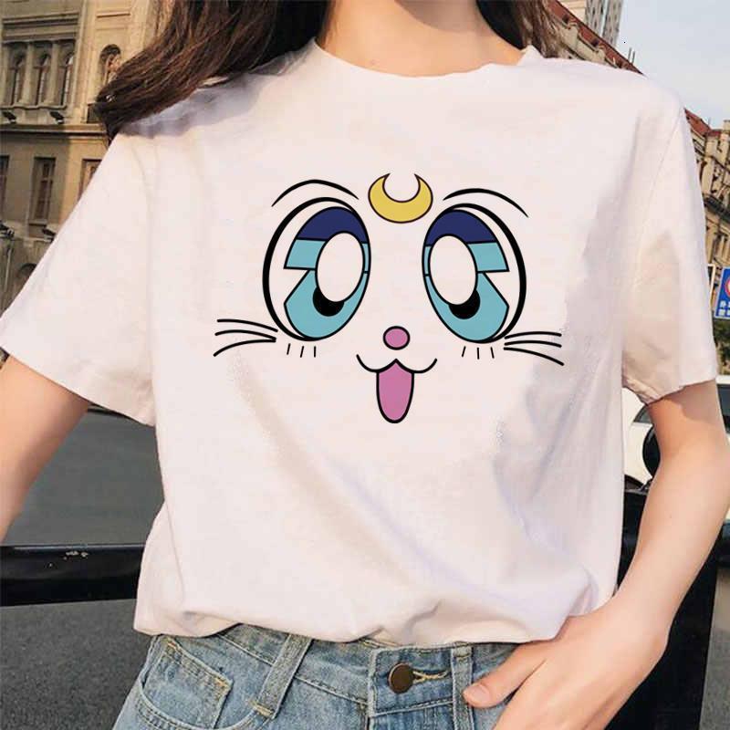 Сейлор Луна Летние Женщины футболка Harajuku Fun ulzzang Рубашки девушки футболка Kawaii мультфильм хлопок топ