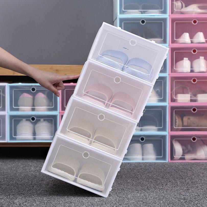 رشاقته واضحة البلاستيك مربع الأحذية الغبار الأحذية تخزين مربع فليب صناديق الأحذية شفافة لون الحلوى لون الأحذية منظم مربع HH9-3690