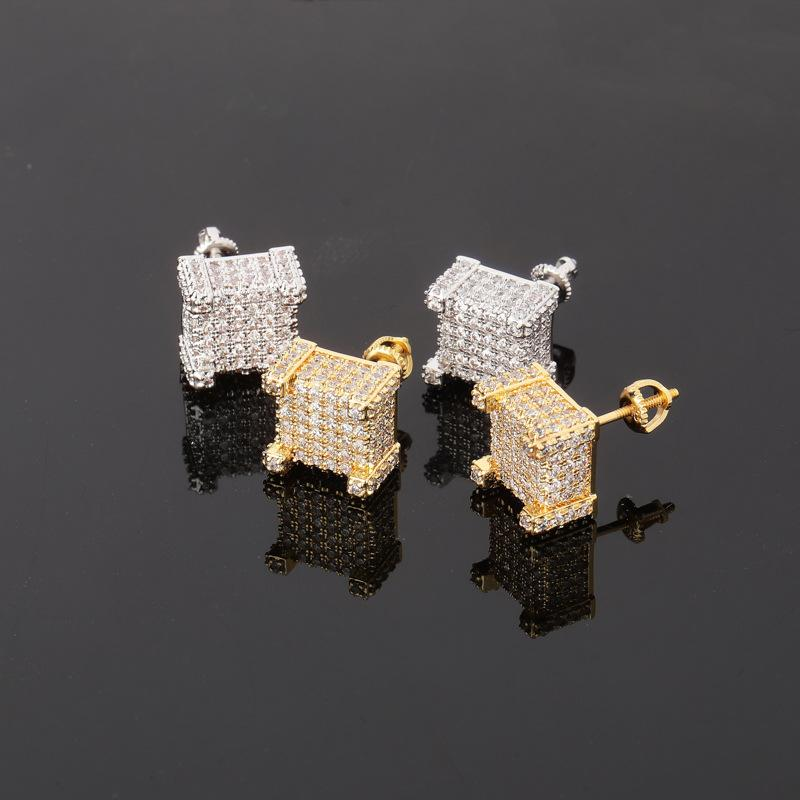 Moda tornillo trasero CZ Pendientes Hombres Hombres diseñador de marca HIPHOP Jewelry Gold Silver Zircon Pierced Ear Stud Jewelly Wholesale