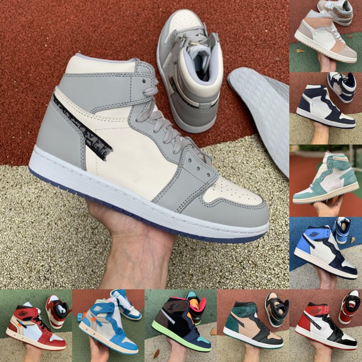 2021 New Bio Hack Travis Scotts Pine Green 1S Jumpman 1 Мужские Женские Баскетбольные Обувь Суд Фиолетовый Обсидиан Дым Дым ЮНС Спортивный Открытый Обувь