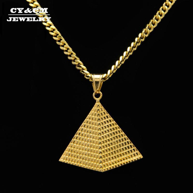 CYCM Altın Mısır Piramidi Kolye Charm Kolye Altın Renk 316L Paslanmaz Çelik Kolye Zinciri Kadın Erkek Mısır Hiphop Takı