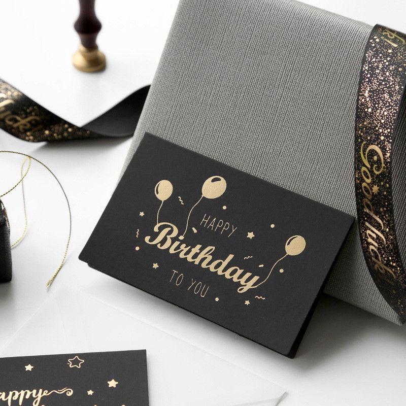 Schwarze Bronzing-Grußkarte danke alles Gute zum Geburtstag Ich liebe dich drucken Hochzeitseinladungen + Umschlagkarten-Urlaub Segen-Karte GWA2458