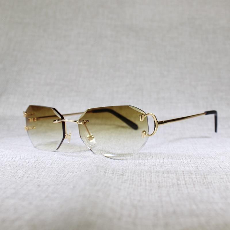 Yaz C Tel Güneş Gözlüğü Erkekler için Temizle Metal Kadınlar Çerçevesiz Gözlük Kesme Elmas Gözlük Vintage Çerçeve óculos Gafas FDXFJ