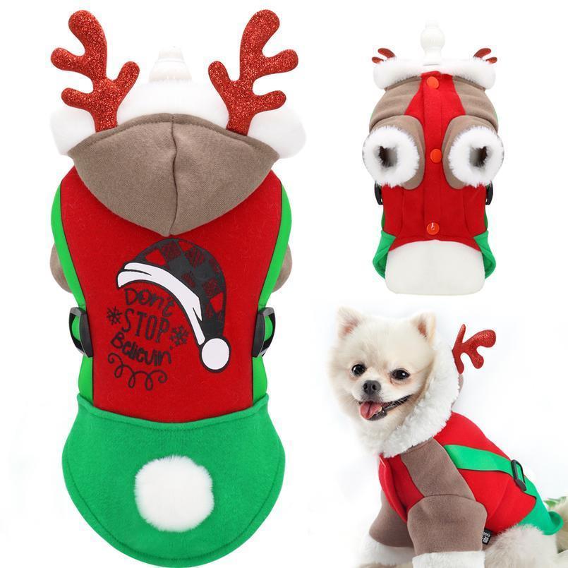 Chien de Noël vêtements costume manteau animal de compagnie pour petits chiens chats mignon hiver chiot kitten hoît hoodie vêtements carlin chihuahu sqcsyu