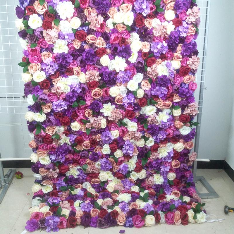 SPR roll up cloth flower wall 4ft*8ft Artificial wedding occasion backdrop arrangement flowers decorations free shipping