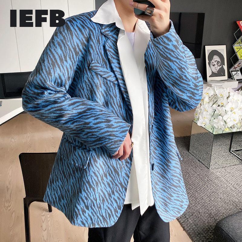 costume automne hiver hommes IEFB manteau mode coréenne nouveaux blazers bleu tissu de laine imprimé zèbre épaisseur des vêtements chauds perdent 9Y4689