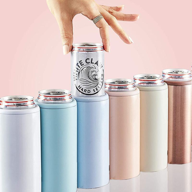 12oz Thermos Bear peut refroidir les tasses isolantes à vide à double paroi 304 Tasse en acier inoxydable refroidisseur Coke Skinny peut refroidir LJ201221