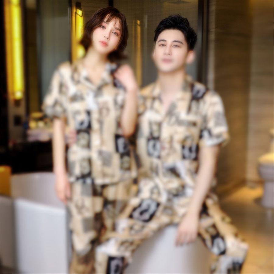 Pijamas de seda de seda para mujer Set de pijamas de oro de alta calidad ropa de dormir rosa ropa de noche de manga larga OUC472 # 71711111