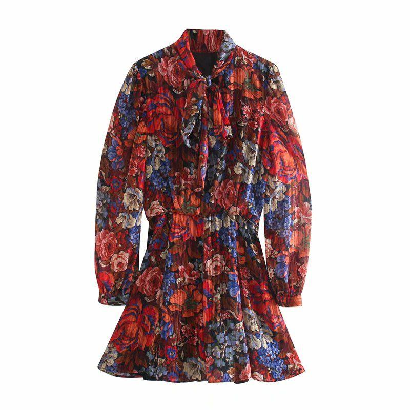 Evfer Chic Damen Herbst Blumendruck ZA rot Plissee Kurze Kleider Damen Mode Bogen Kragen Hauchhülse Hohe Taille Kleid Chic B1203
