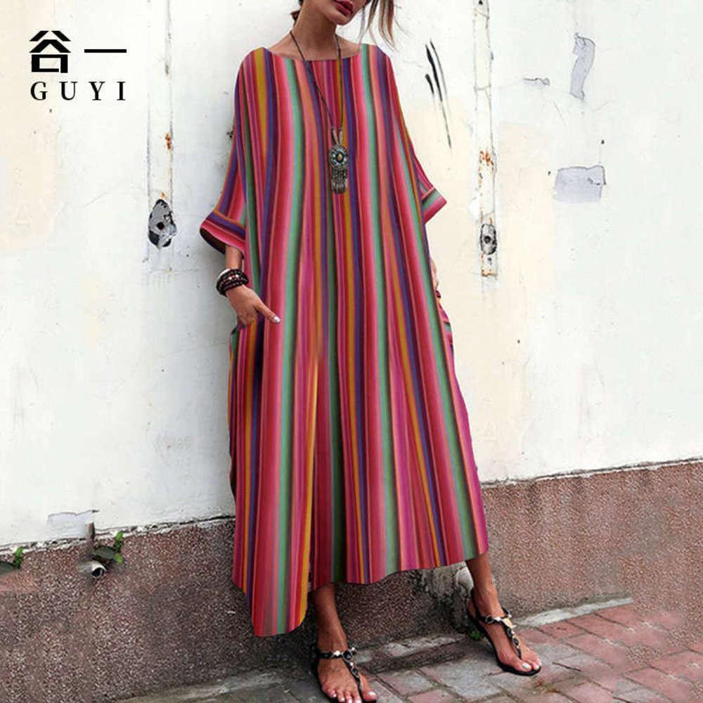Vestido de bolsillo de rayas sueltas de estilo nacional de Guyi verano 2020 nueva mujer