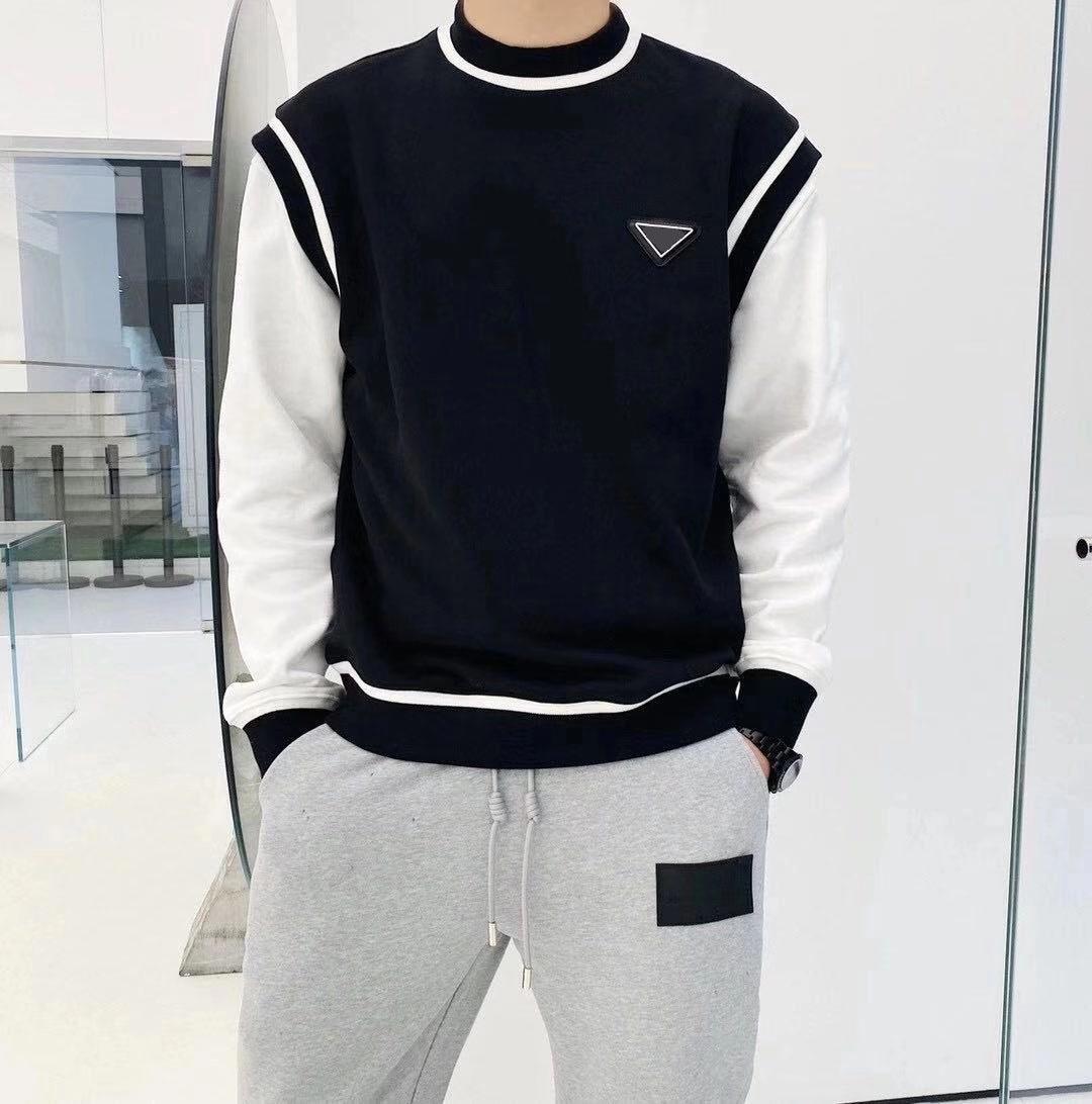 2020 Europa nova camisolas retro tamanho Sweater confortável respirável quente asiático Adicionar veludo homens de metal moletom bordado triangular nlcv