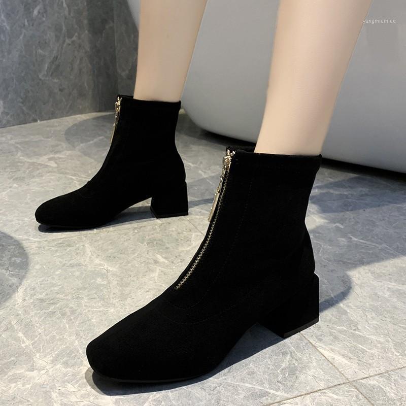 2020 Весна и осень Новый толстый каблук носок ботинки с каблуком Ding ботинки дикие упругие женские тонкие и тонкие х2431