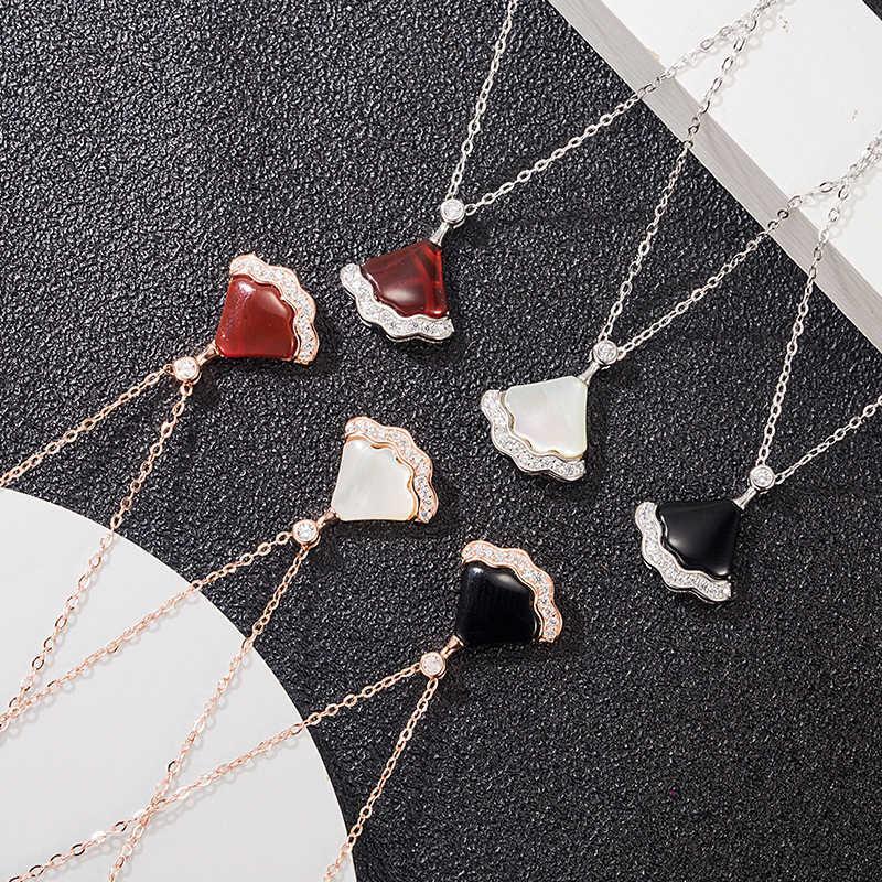 FactoryKzzXNecklace NEUE S925 Silber eingelegter Diamantwellenrock der frauen fächerförmigen Achatanhänger