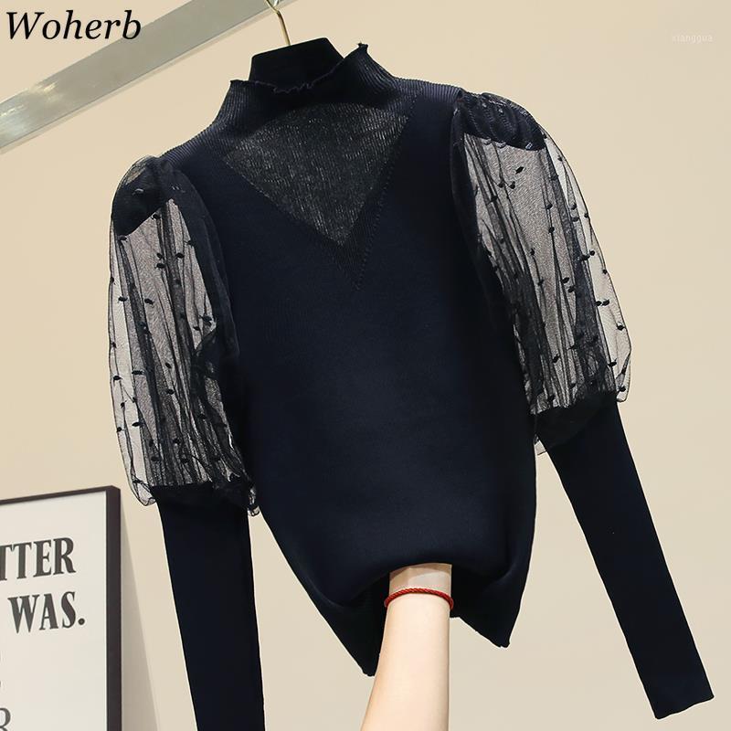 Woherb Coréen Mode Turtleneck Lantern Sleeve Shirts Patchwork Voir à travers Blouse Slim Black Tops blancs élégant neuf 915371