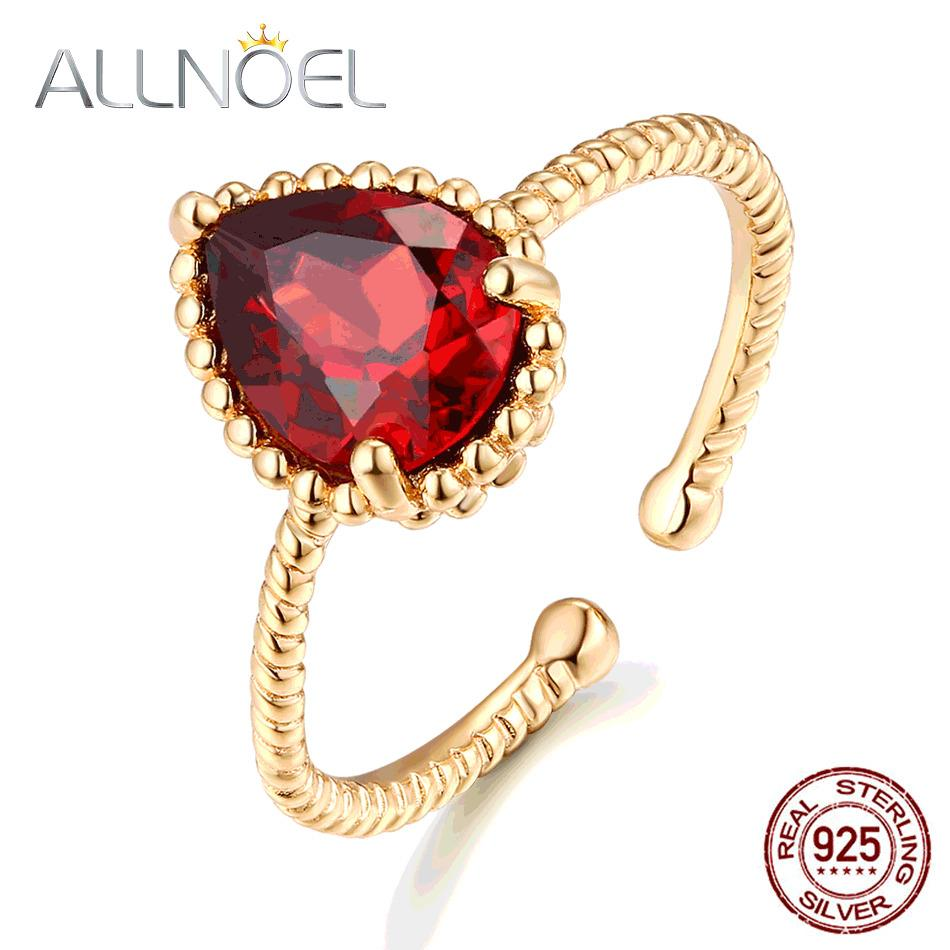 Allnoel 925 Sterling Silber Ringe für Frauen Klassische Wassertropfen 100% Natürliches Granat Achat Citrine Hochzeit Verlobungsring Set Z1121