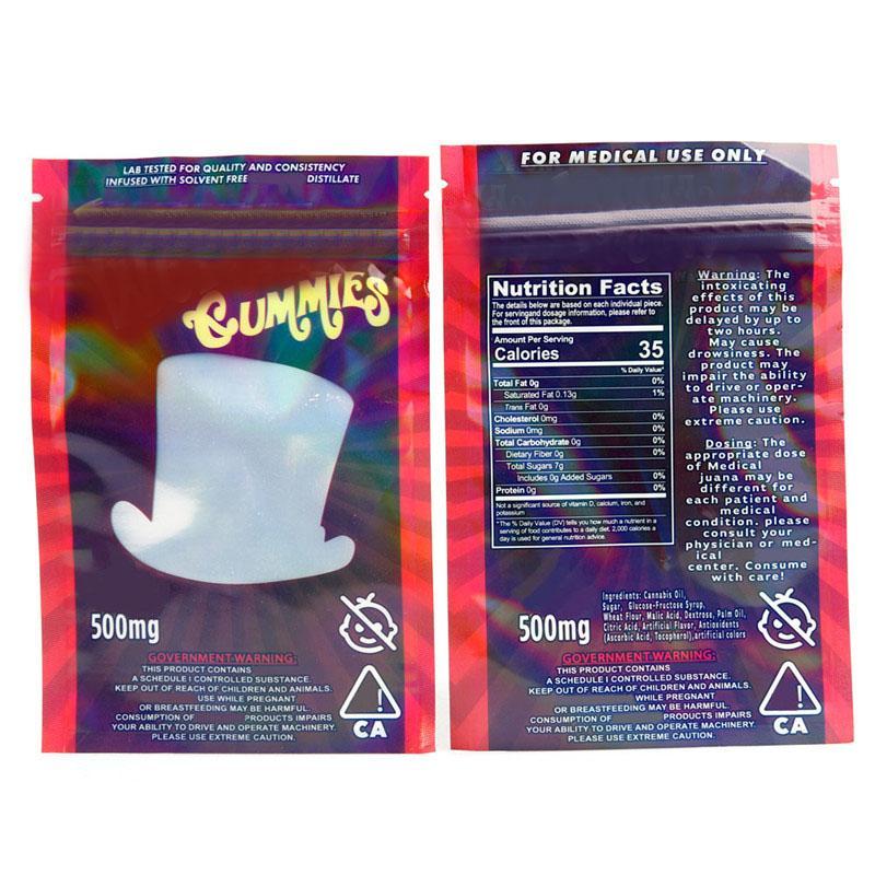 Wonka Gummies Mylar Çanta 500mg Kitaplar Fermuar Kılıfı SmeProof Depolama Perakende Çantası Kuru Herb Tütün Çiçek Açılır