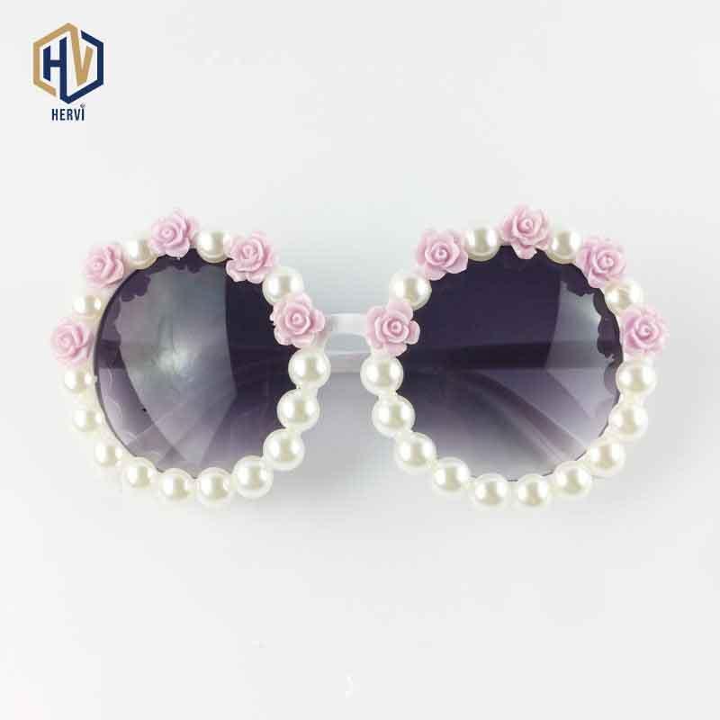 Óculos de sol redondos acrílicos de grandes óculos de sol mulheres flor pérola decoração grande quadro sol óculos moda gradiente óculos uv400