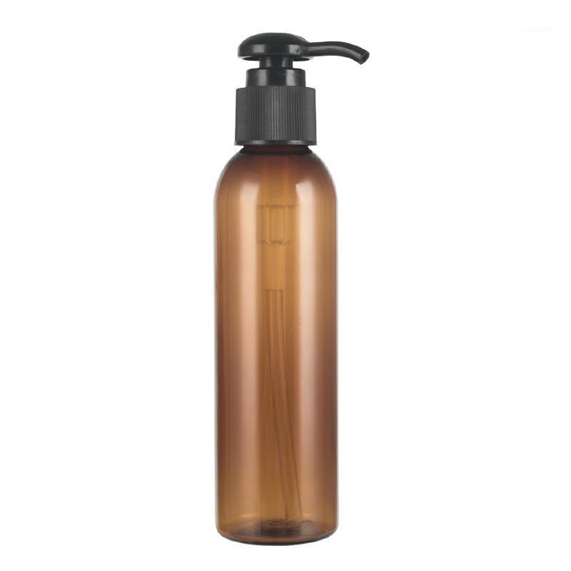 زجاجات التعبئة 30PCS 150ML مستحضرات التجميل مع مضخة العنبر البلاستيك زجاجة كريم إعادة الملء غسول براون pet زجاجات 1