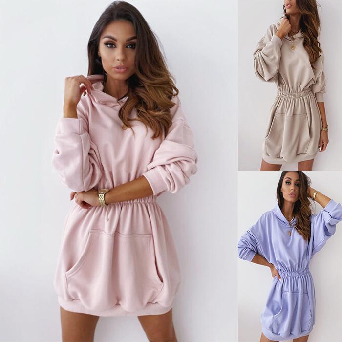 6 색 S-XXL 2020 뜨거운 판매 여성 겨울 허리 롱 플러스 양털 후드 스웨터 탑 풀오버 24624760075274