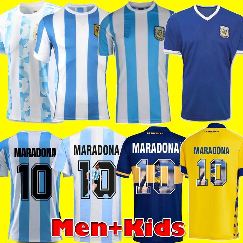 لاعب نسخة ريترو 1986 الأرجنتين دييغو مارادونا لكرة القدم جيرسي 1978 بوكا جونيورز 1987 2020 الرجال الاطفال كرة القدم قميص كيت