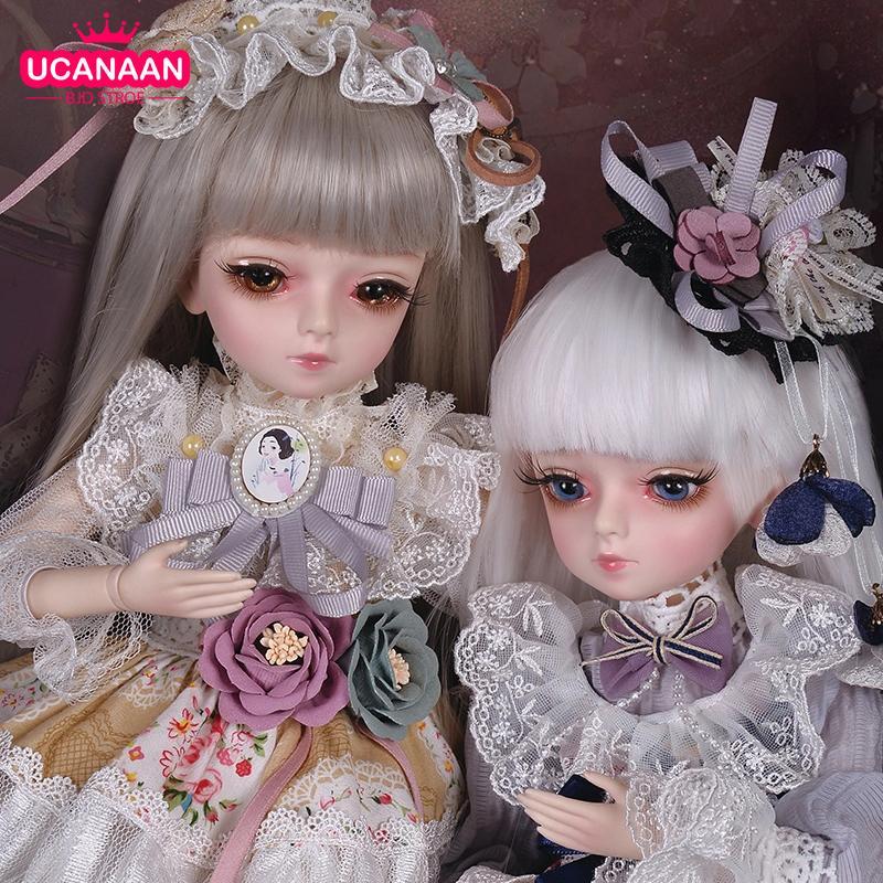 Ucanaan 1/4 BJD Dolls 45cm bola articulada boneca Mudável olhos com roupas princesa peruca sapatos maquiagem meninas diy vestir brinquedo q1124
