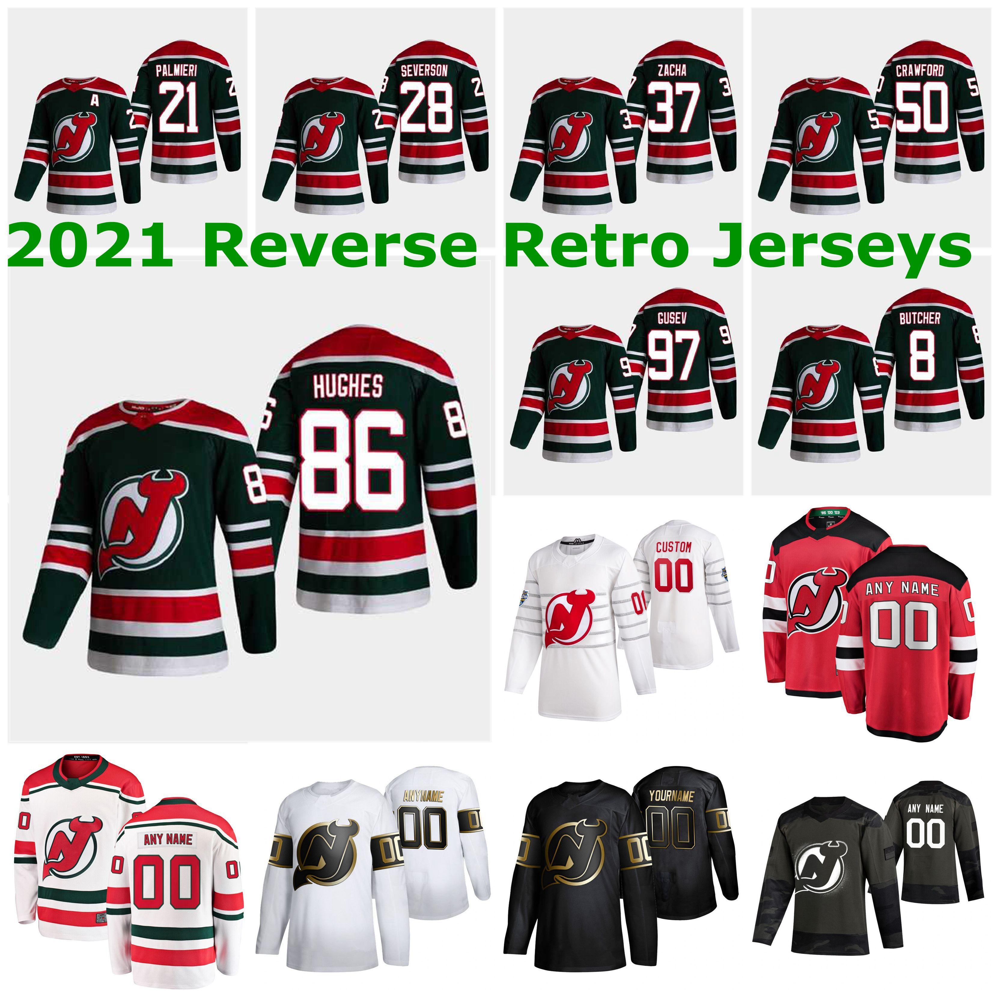 New Jersey Devils 2021 Reverse Retro Jerseys 25 Mirco Mueller Jersey 28 Damon Severson 7 Matt Tennyson Mens Womens Kids Custom Stitched