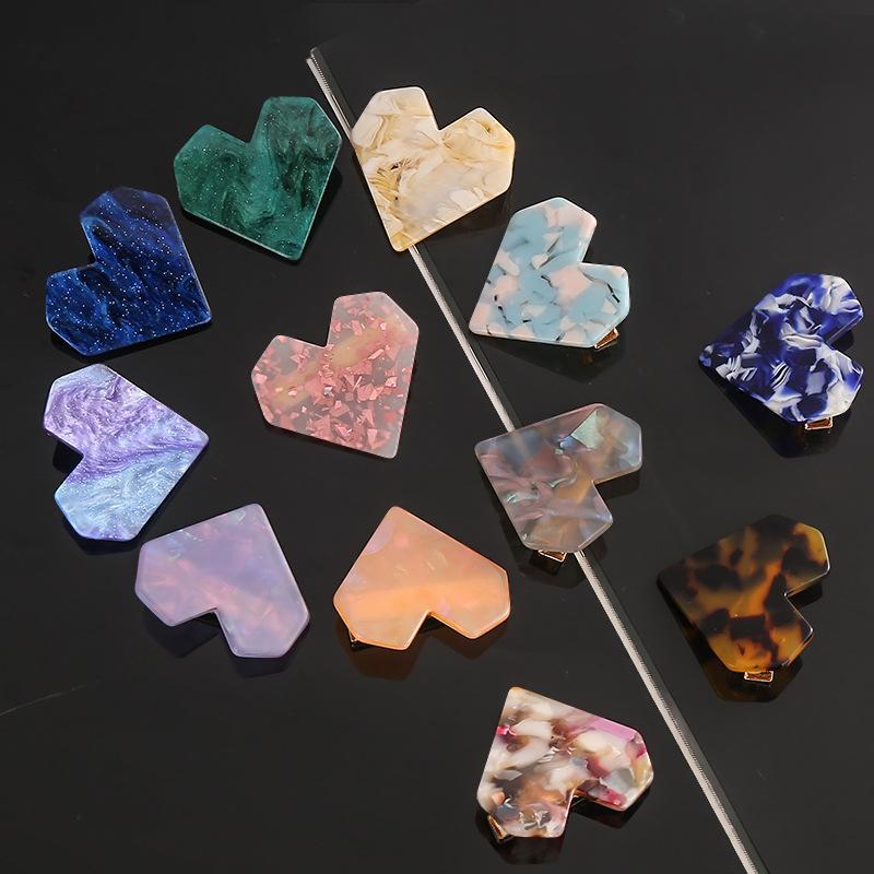 Love Heart a forma di forcella per capelli capelli clips moda adorabile accessori gelatina lucido pinkycolor acrilico donna barrettes 0 98wy k2