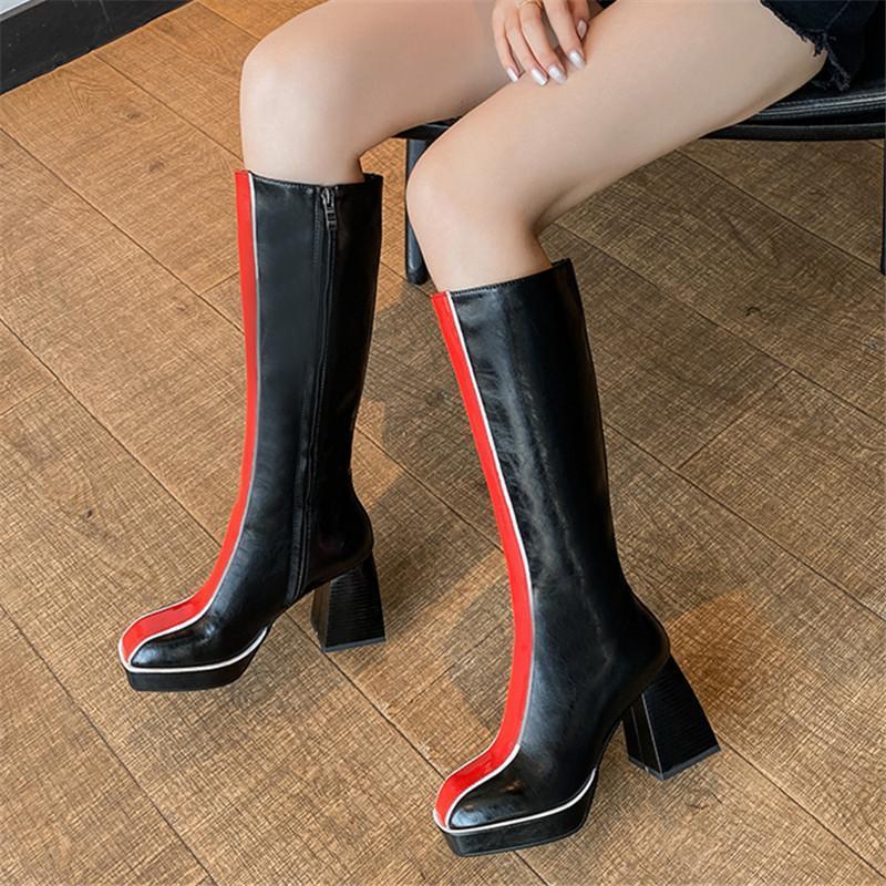 2021 bottes en cuir véritable épais talons hauts plate-forme de bout carré dames bottes couleurs mélangées hiver femmes blanc noir