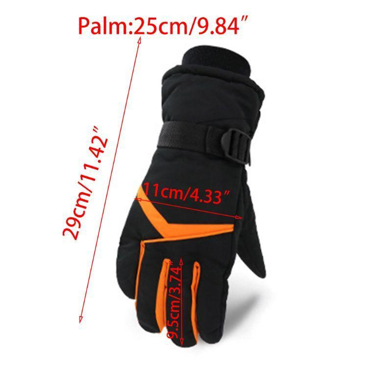 Ski Gloves Men Winter Windproof Contrast Color Stripes Waterproof Warm Mittens U7EF