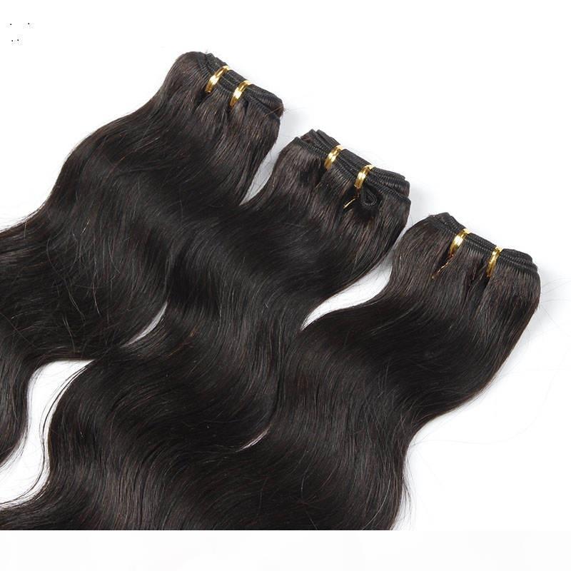 EXTENTIONS DE CHEVEUX CORPE DE CORPORE BRÉSILIENNES DE COULEUR NOIES 100% Tissage de cheveux Humain Tissu 10-30 pouces Extensions de cheveux Non Rémy