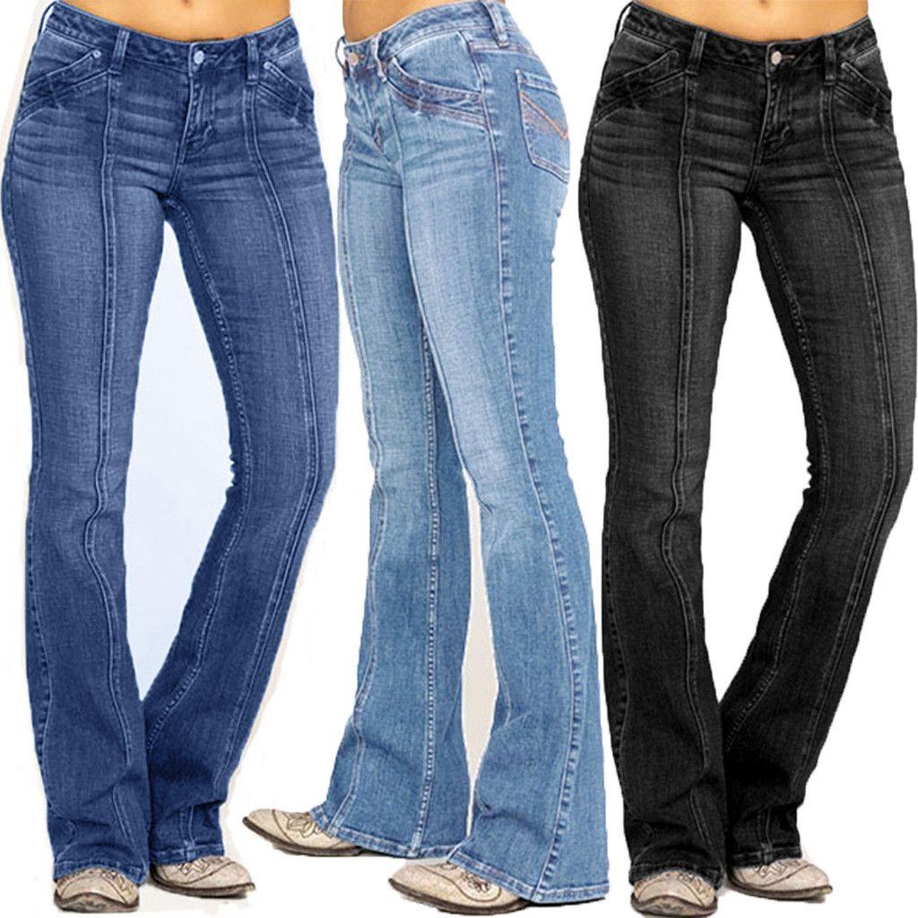 Frauen mittlere Taillierte-Denim-Stickerei Stretch Knopf Flare Pants Jeans Mode Weibliche Hosen Large Size M140 #