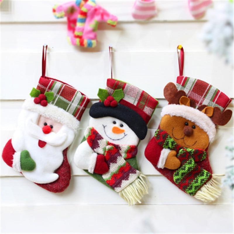 Рождественские украшения носки подарочные сумки ткань ремесел украшение1